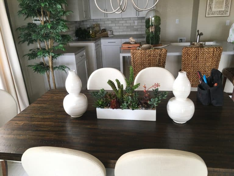 Areca Palm and Faux Succulents in White Box