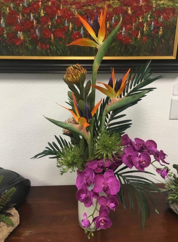 Contemporary tropical silk flower arrangements