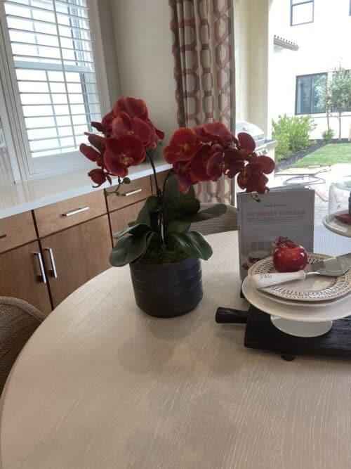 Faux red orchids silk flower arrangements