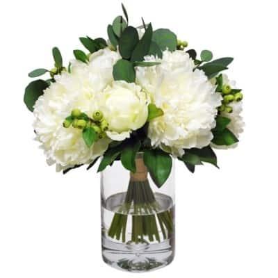 silk Peony Bouquet in vase