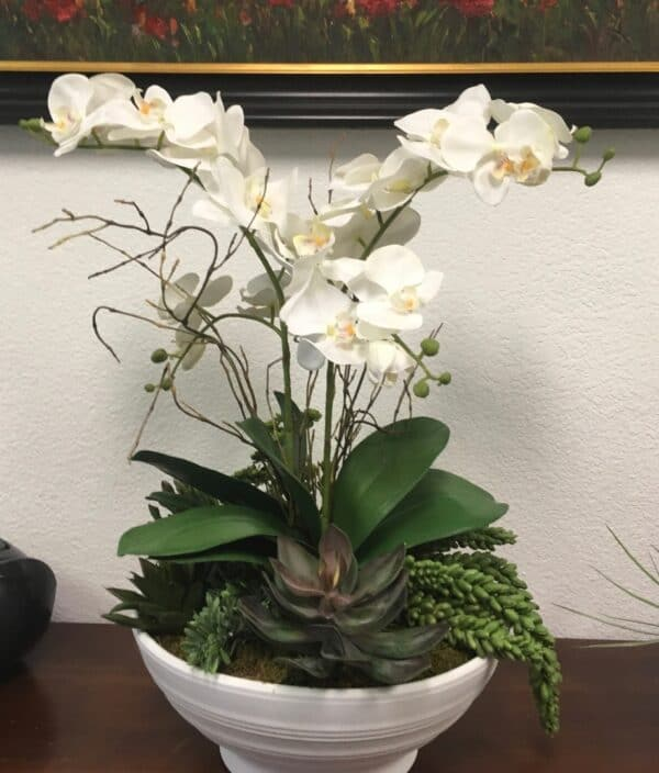 White orchids and succulents silk flower arrangements