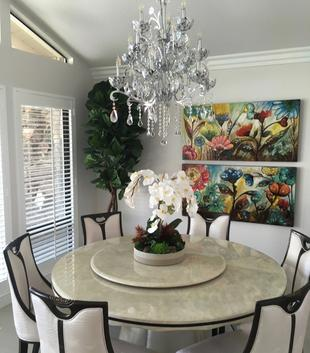 Custom Faux Flower arrangements and artificial trees for residential homes