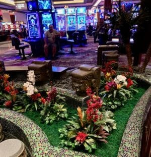 Indoor casino plantscaping at a casino restaurant atrium